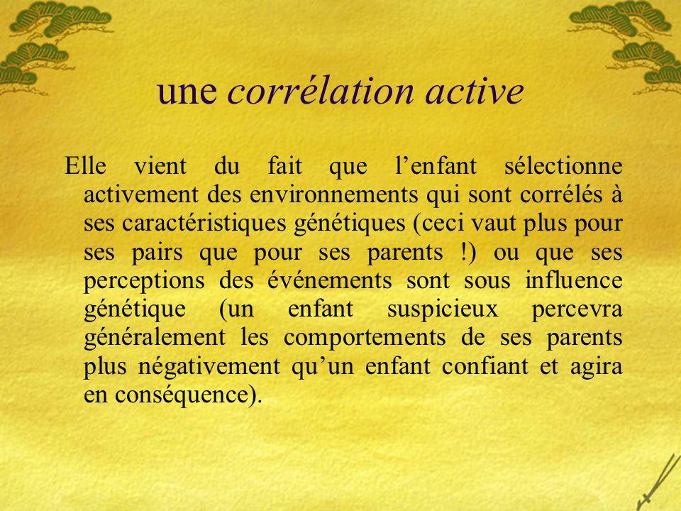 une corrélation active Elle vient du fait que lenfant sélectionne activement des environnements qui sont corrélés à ses caractéristiques génétiques (c