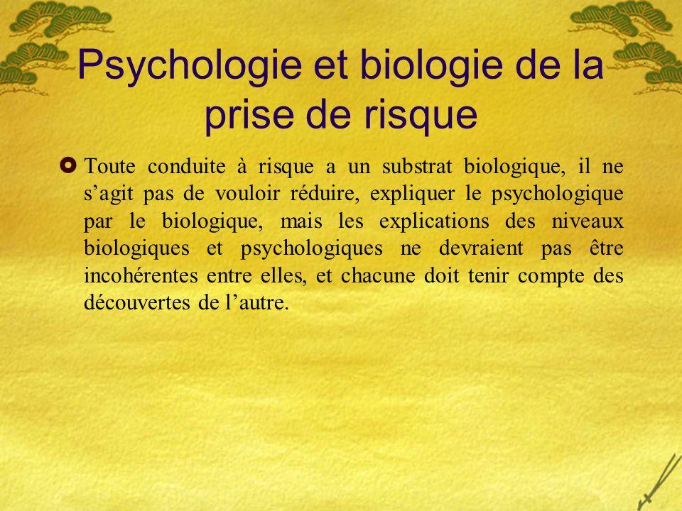 Psychologie et biologie de la prise de risque Toute conduite à risque a un substrat biologique, il ne sagit pas de vouloir réduire, expliquer le psych