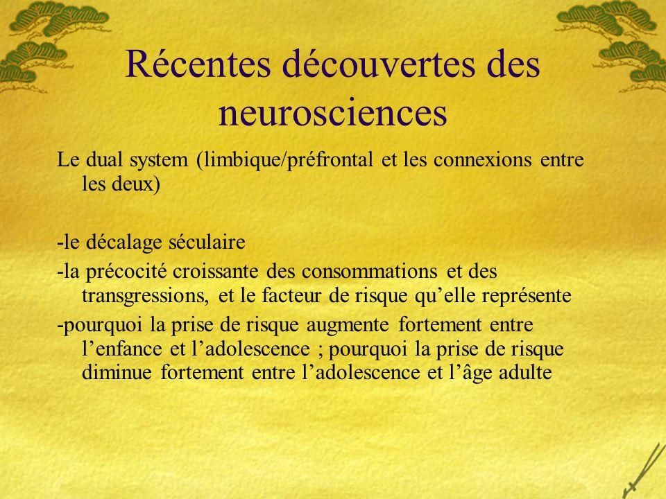 Récentes découvertes des neurosciences Le dual system (limbique/préfrontal et les connexions entre les deux) -le décalage séculaire -la précocité croi