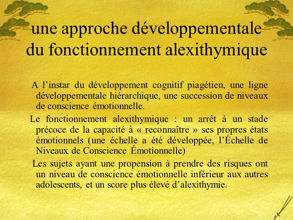 une approche développementale du fonctionnement alexithymique A linstar du développement cognitif piagétien, une ligne développementale hiérarchique,