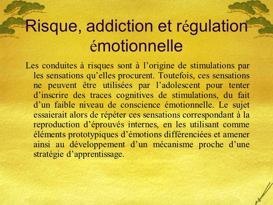 Risque, addiction et r é gulation é motionnelle Les conduites à risques sont à lorigine de stimulations par les sensations quelles procurent. Toutefoi