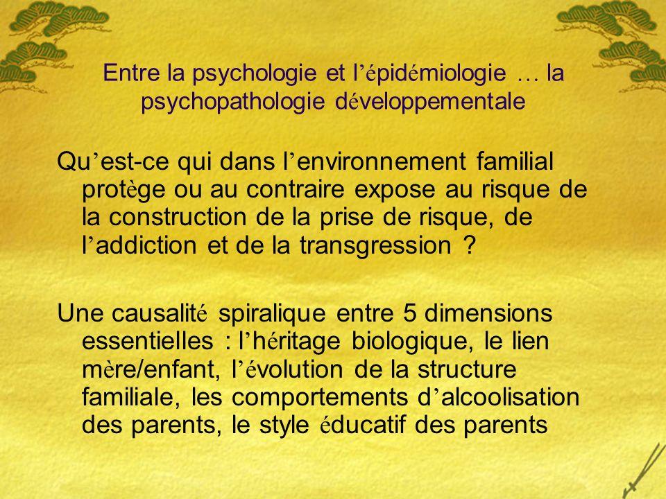 Entre la psychologie et l é pid é miologie … la psychopathologie d é veloppementale Qu est-ce qui dans l environnement familial prot è ge ou au contra