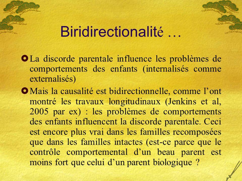 Biridirectionalit é … La discorde parentale influence les problèmes de comportements des enfants (internalisés comme externalisés) Mais la causalité e