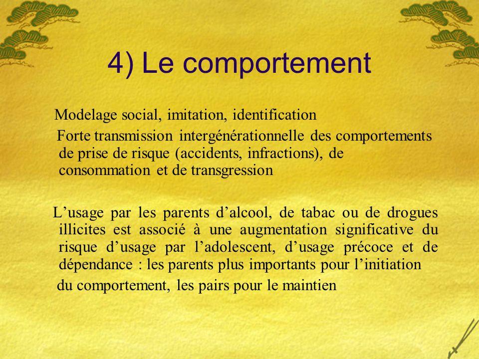 4) Le comportement Modelage social, imitation, identification Forte transmission intergénérationnelle des comportements de prise de risque (accidents,