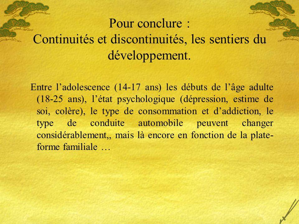 Pour conclure : Continuités et discontinuités, les sentiers du développement. Entre ladolescence (14-17 ans) les débuts de lâge adulte (18-25 ans), lé