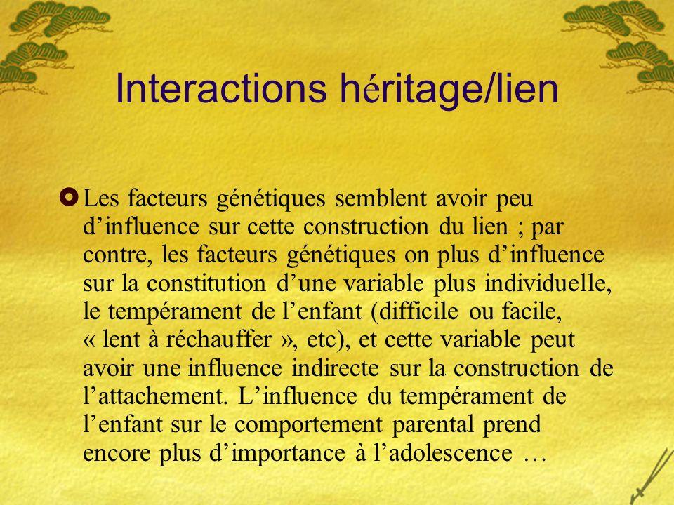 Interactions h é ritage/lien Les facteurs génétiques semblent avoir peu dinfluence sur cette construction du lien ; par contre, les facteurs génétique