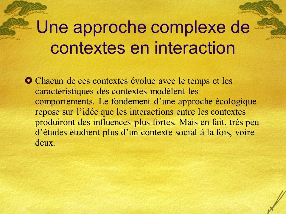 Une approche complexe de contextes en interaction Chacun de ces contextes évolue avec le temps et les caractéristiques des contextes modèlent les comp
