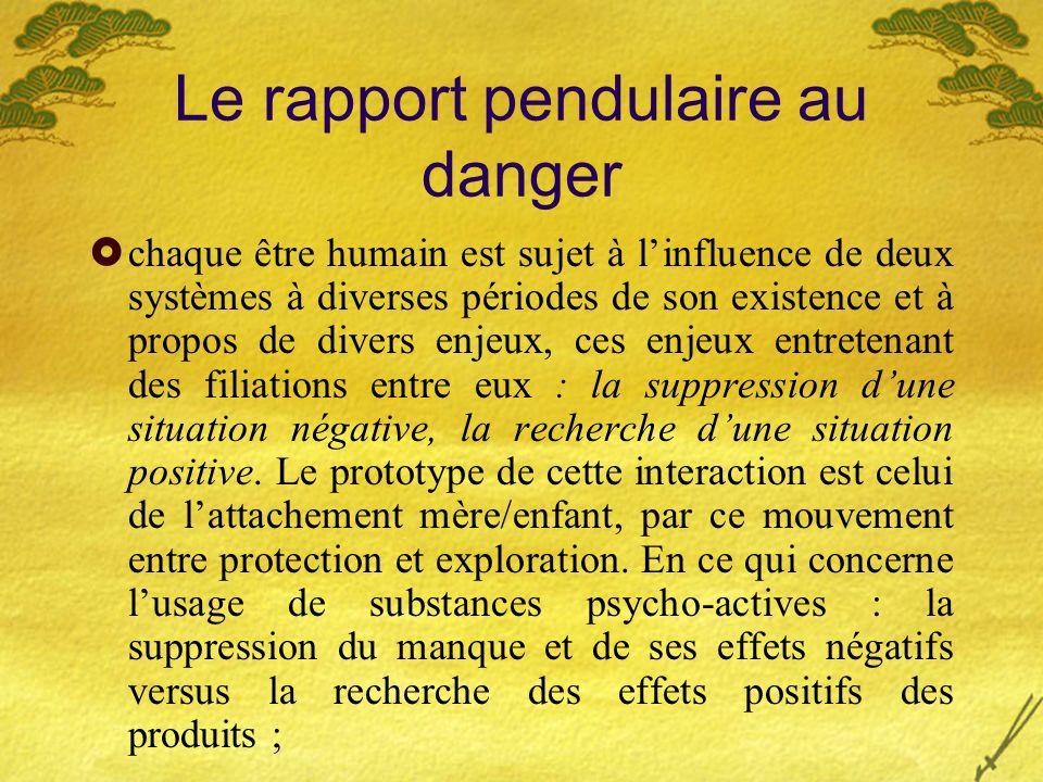 Le rapport pendulaire au danger chaque être humain est sujet à linfluence de deux systèmes à diverses périodes de son existence et à propos de divers