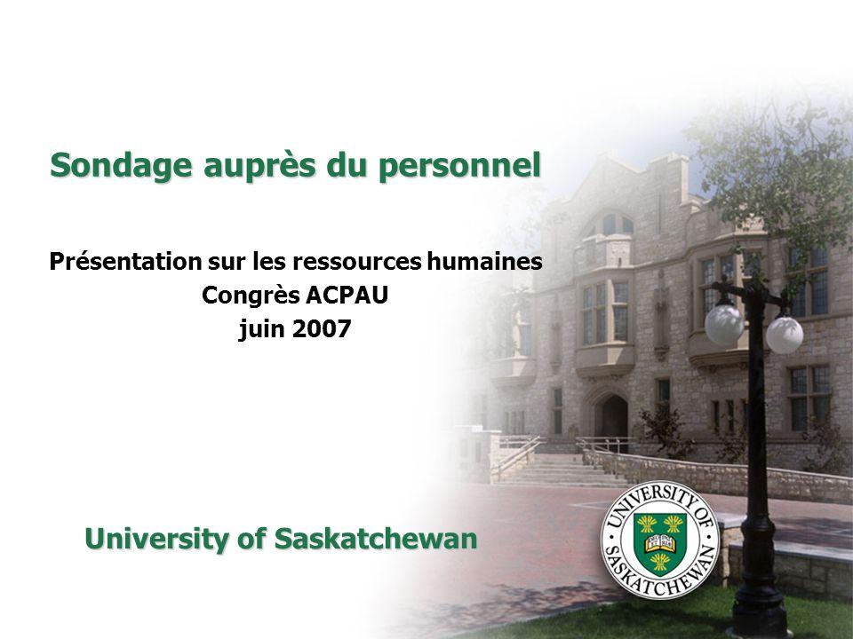 Sondage auprès du personnel Présentation sur les ressources humaines Congrès ACPAU juin 2007 University of Saskatchewan