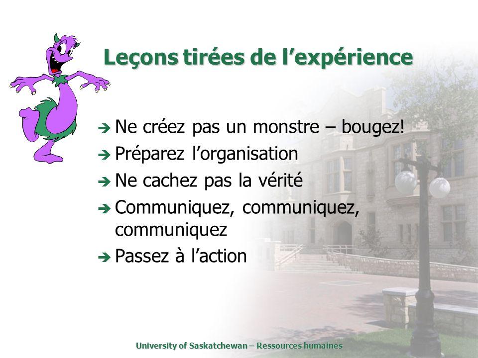 University of Saskatchewan – Ressources humaines Leçons tirées de lexpérience Ne créez pas un monstre – bougez.