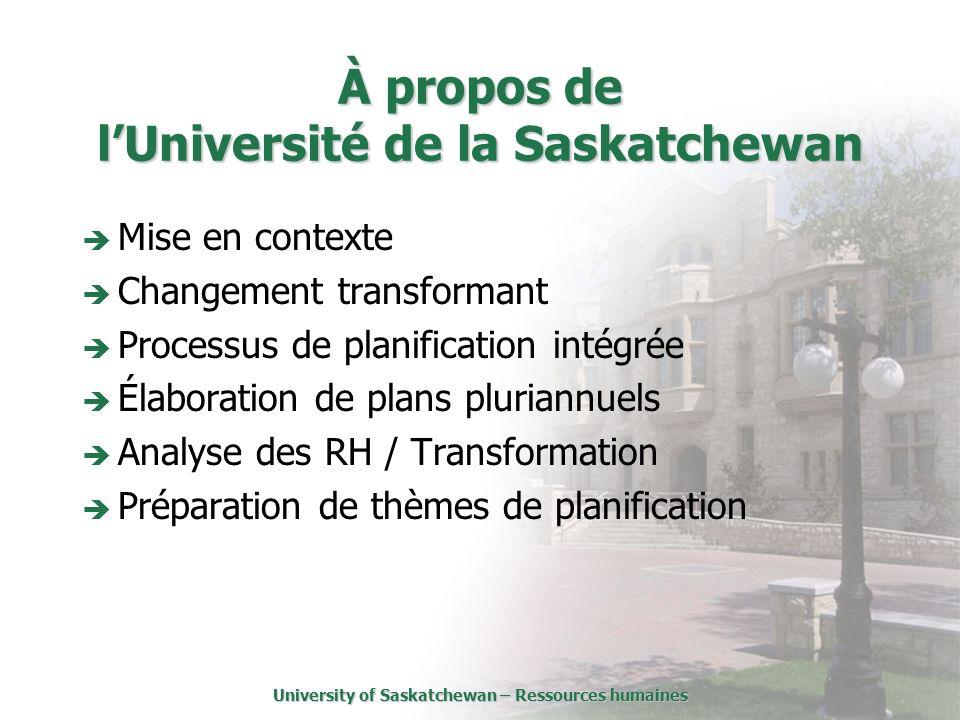 University of Saskatchewan – Ressources humaines À propos de lUniversité de la Saskatchewan Mise en contexte Changement transformant Processus de planification intégrée Élaboration de plans pluriannuels Analyse des RH / Transformation Préparation de thèmes de planification