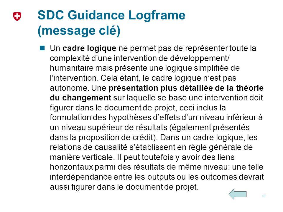 SDC Guidance Logframe (message clé) Un cadre logique ne permet pas de représenter toute la complexité dune intervention de développement/ humanitaire