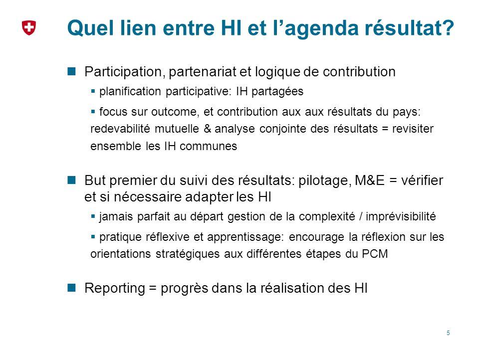 Quel lien entre HI et lagenda résultat? Participation, partenariat et logique de contribution planification participative: IH partagées focus sur outc