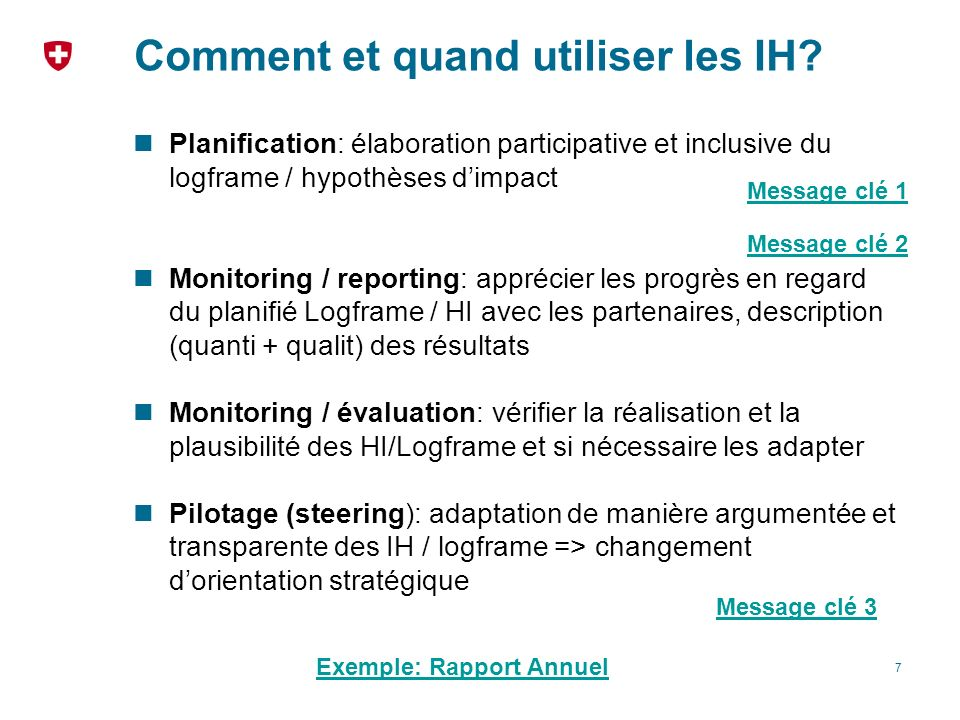 Comment et quand utiliser les IH? Planification: élaboration participative et inclusive du logframe / hypothèses dimpact Monitoring / reporting: appré