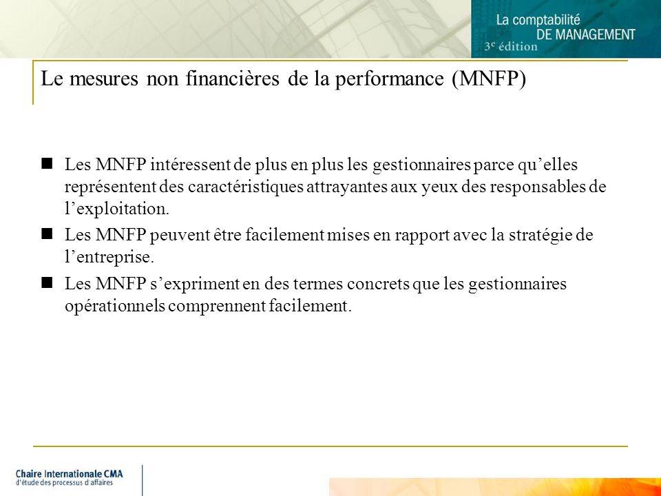 13 Le mesures non financières de la performance (MNFP) Les MNFP intéressent de plus en plus les gestionnaires parce quelles représentent des caractéri