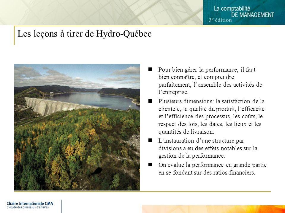 16 Les leçons à tirer de Hydro-Québec Pour bien gérer la performance, il faut bien connaître, et comprendre parfaitement, lensemble des activités de lentreprise.