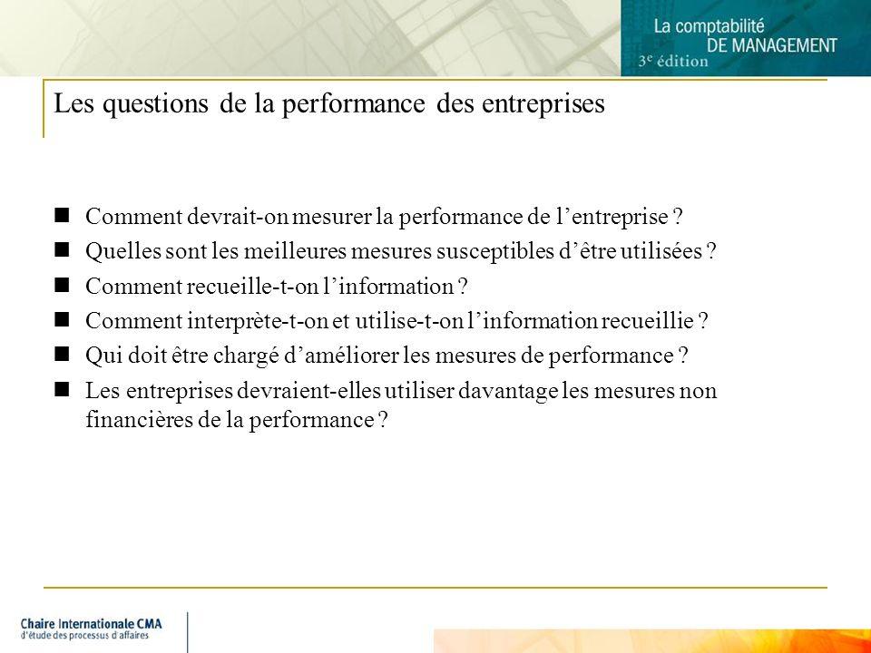 3 Les questions de la performance des entreprises Comment devrait-on mesurer la performance de lentreprise ? Quelles sont les meilleures mesures susce