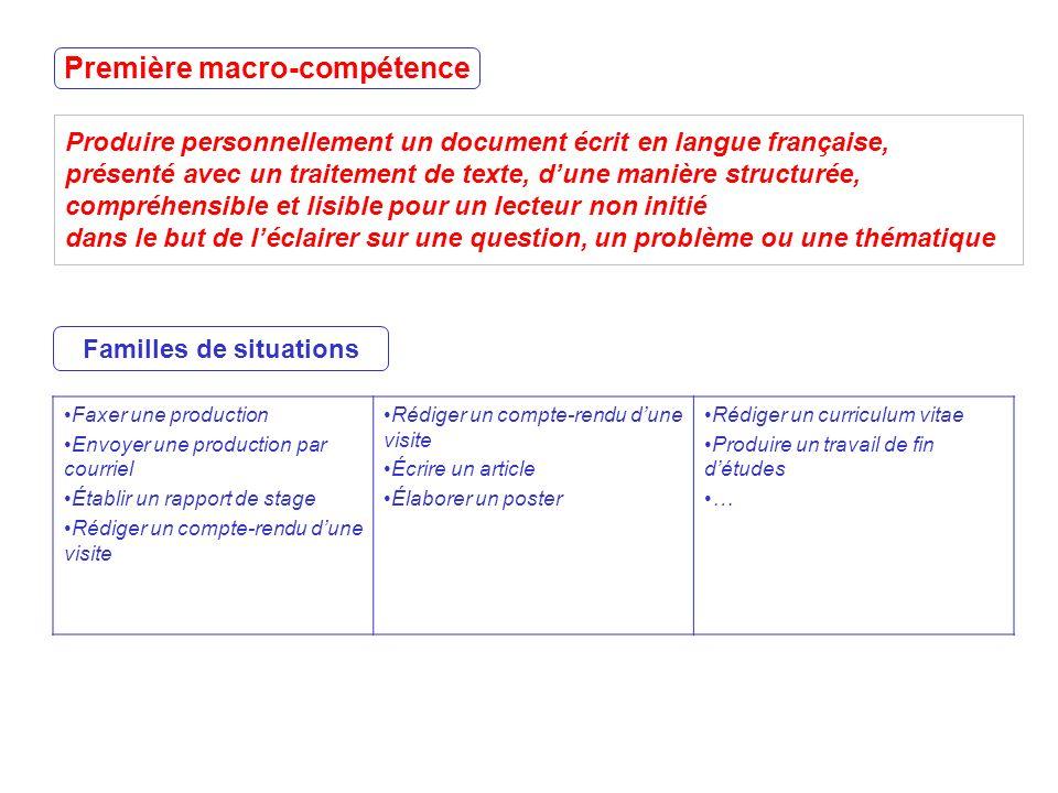 Produire personnellement un document écrit en langue française, présenté avec un traitement de texte, dune manière structurée, compréhensible et lisib