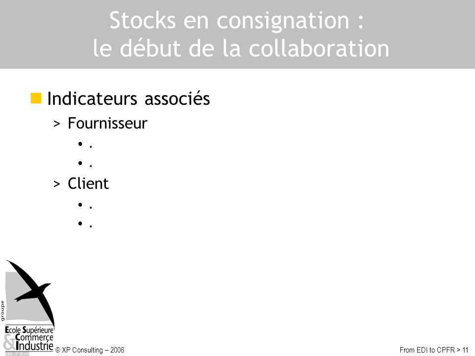 © XP Consulting – 2006From EDI to CPFR > 11 Stocks en consignation : le début de la collaboration Indicateurs associés >Fournisseur. >Client.