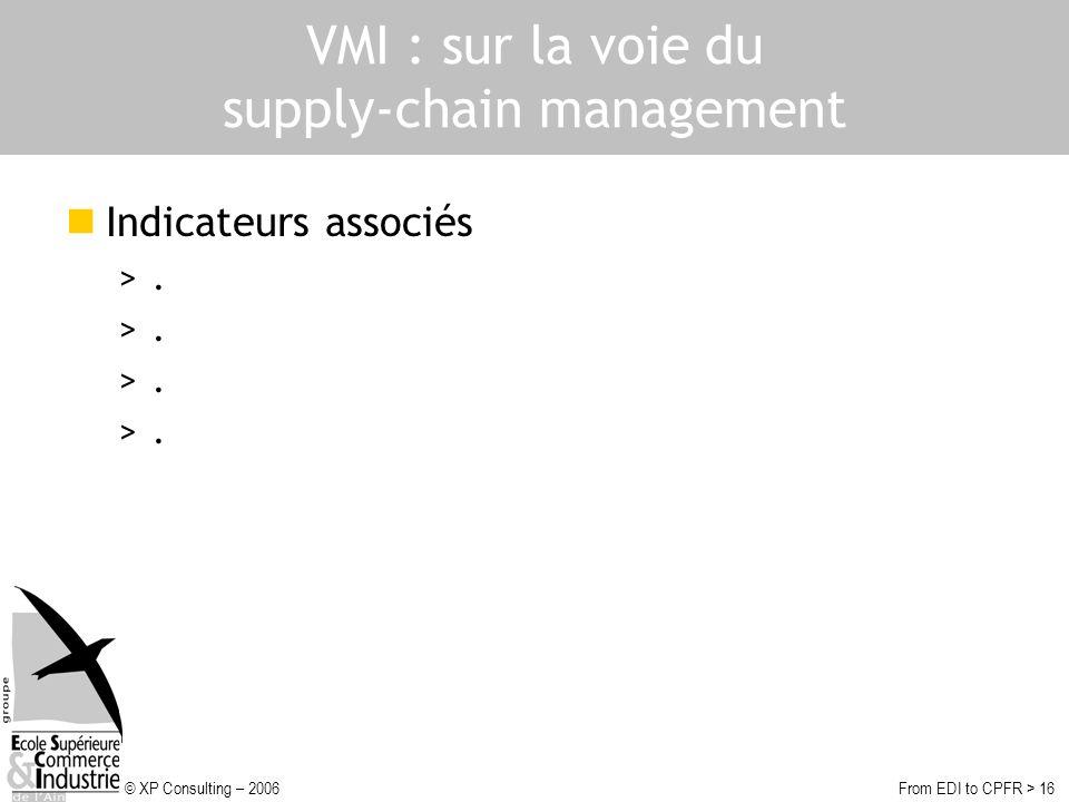 © XP Consulting – 2006From EDI to CPFR > 16 VMI : sur la voie du supply-chain management Indicateurs associés >.