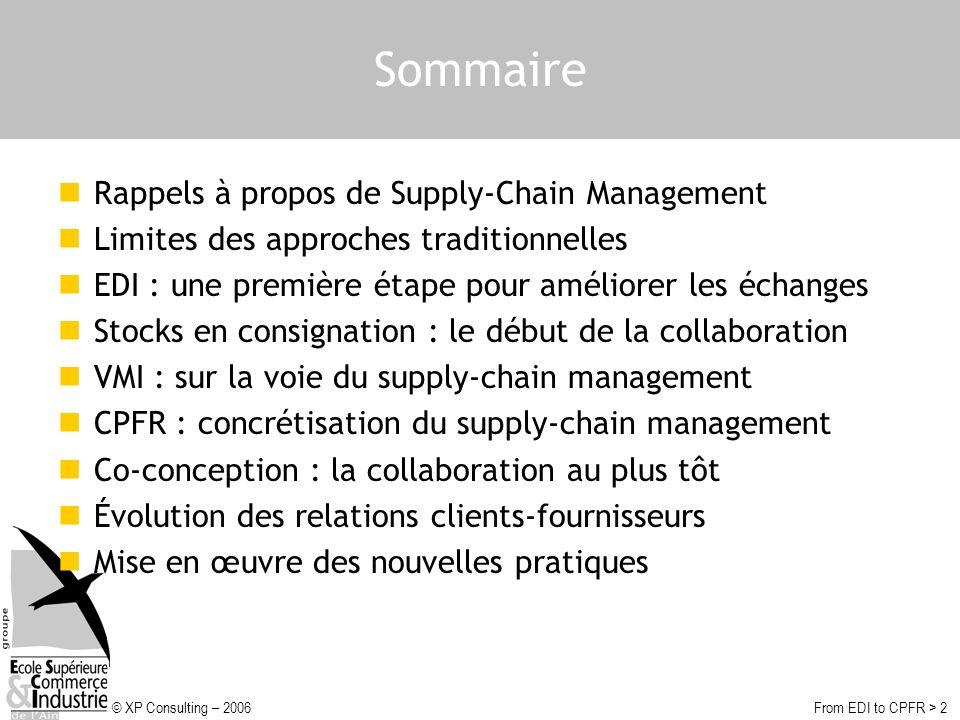 © XP Consulting – 2006From EDI to CPFR > 13 VMI : sur la voie du supply-chain management Stock géré par le fournisseur (VMI) fournisseurclient stock réappros gérés par le fournisseur