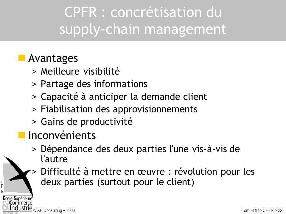 © XP Consulting – 2006From EDI to CPFR > 22 CPFR : concrétisation du supply-chain management Avantages >Meilleure visibilité >Partage des informations