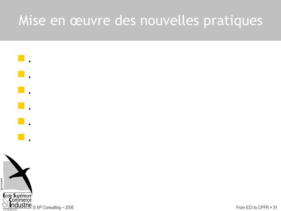 © XP Consulting – 2006From EDI to CPFR > 31 Mise en œuvre des nouvelles pratiques.
