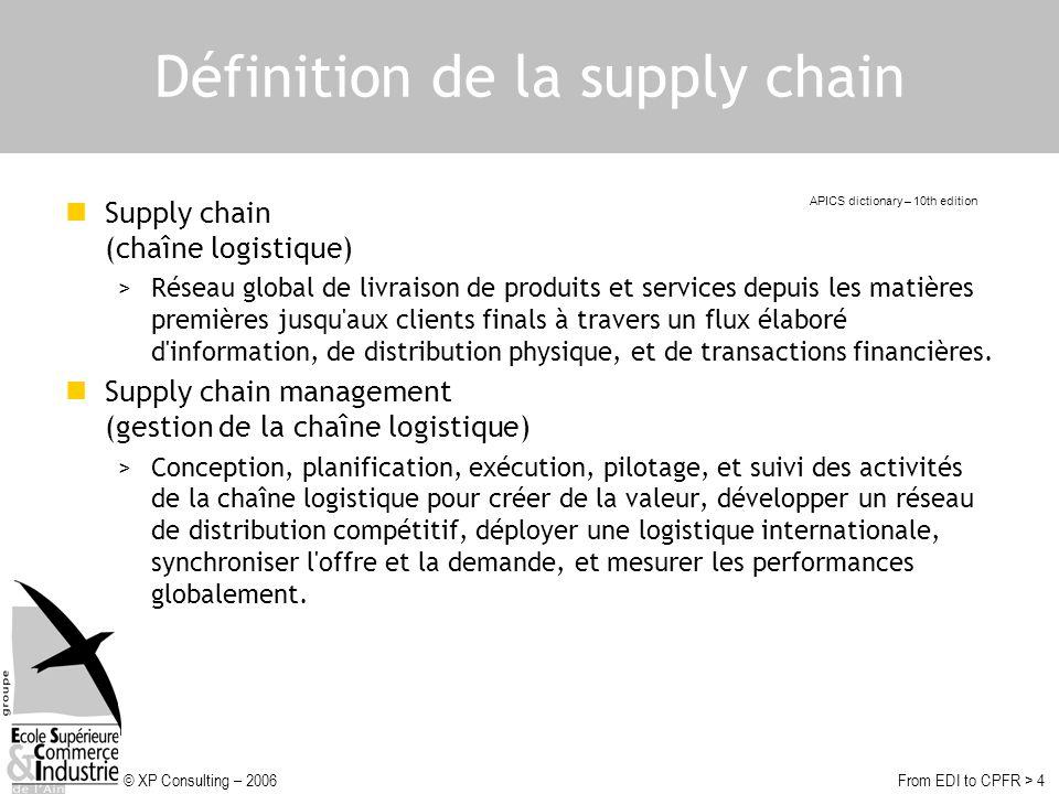 © XP Consulting – 2006From EDI to CPFR > 4 Définition de la supply chain Supply chain (chaîne logistique) >Réseau global de livraison de produits et services depuis les matières premières jusqu aux clients finals à travers un flux élaboré d information, de distribution physique, et de transactions financières.