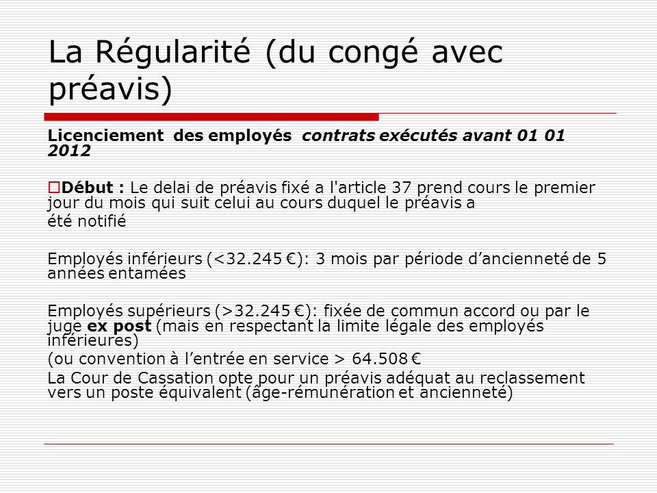 La Régularité (du congé avec préavis) Licenciement des employés contrats exécutés avant 01 01 2012 Début : Le delai de préavis fixé a l'article 37 pre
