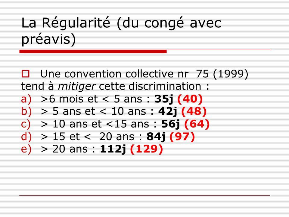 La Régularité (du congé avec préavis) Une convention collective nr 75 (1999) tend à mitiger cette discrimination : a)>6 mois et < 5 ans : 35j (40) b)> 5 ans et < 10 ans : 42j (48) c)> 10 ans et <15 ans : 56j (64) d)> 15 et < 20 ans : 84j (97) e)> 20 ans : 112j (129)