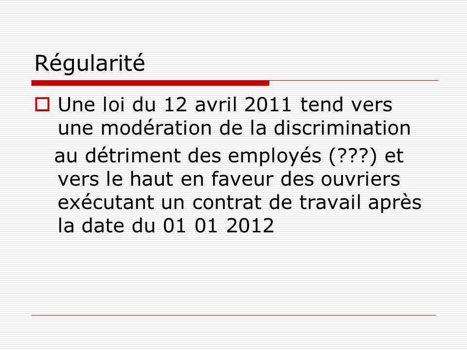 Régularité Une loi du 12 avril 2011 tend vers une modération de la discrimination au détriment des employés (???) et vers le haut en faveur des ouvriers exécutant un contrat de travail après la date du 01 01 2012