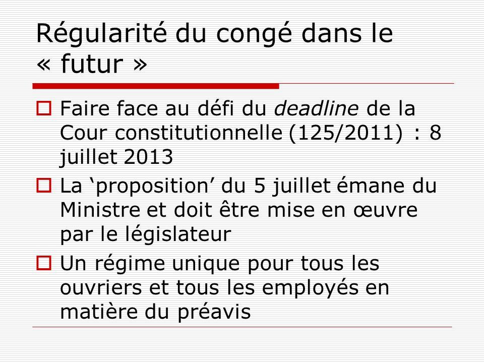 Régularité du congé dans le « futur » Faire face au défi du deadline de la Cour constitutionnelle (125/2011) : 8 juillet 2013 La proposition du 5 juil