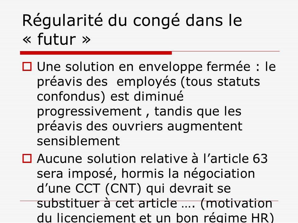 Régularité du congé dans le « futur » Une solution en enveloppe fermée : le préavis des employés (tous statuts confondus) est diminué progressivement,