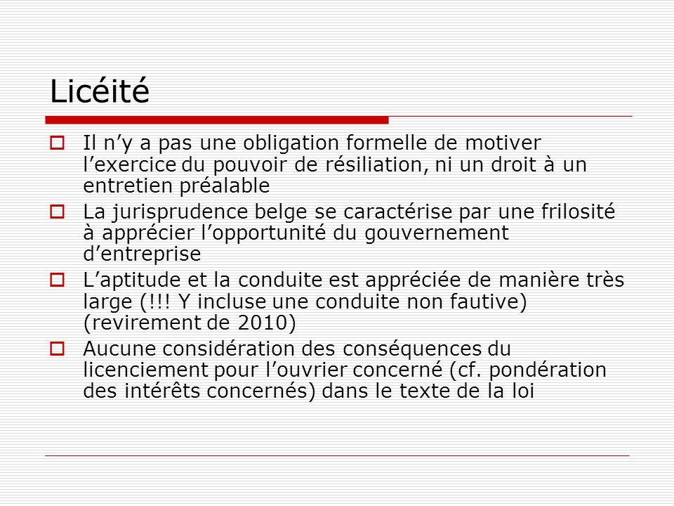 Licéité Il ny a pas une obligation formelle de motiver lexercice du pouvoir de résiliation, ni un droit à un entretien préalable La jurisprudence belg