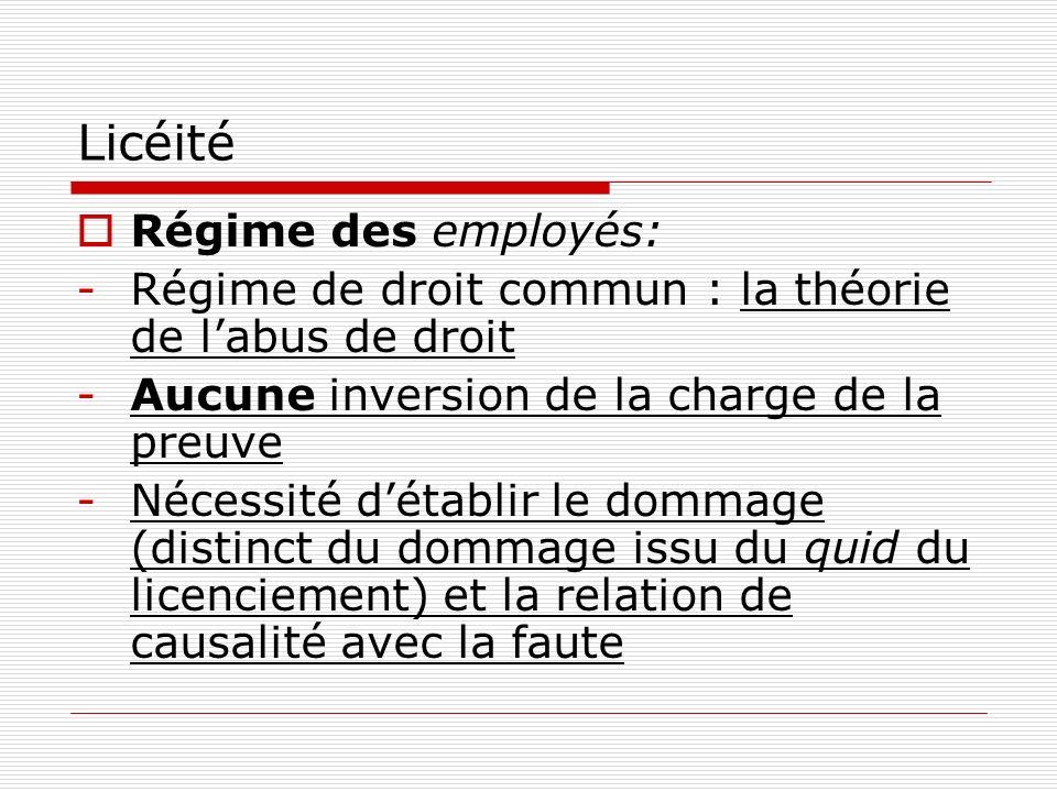 Licéité Régime des employés: -Régime de droit commun : la théorie de labus de droit -Aucune inversion de la charge de la preuve -Nécessité détablir le