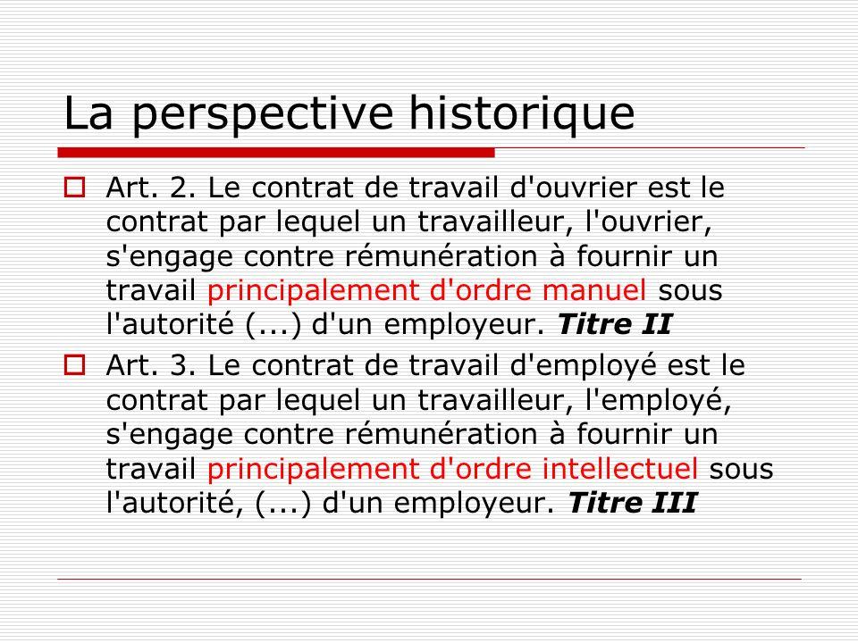 La perspective historique Art. 2. Le contrat de travail d'ouvrier est le contrat par lequel un travailleur, l'ouvrier, s'engage contre rémunération à