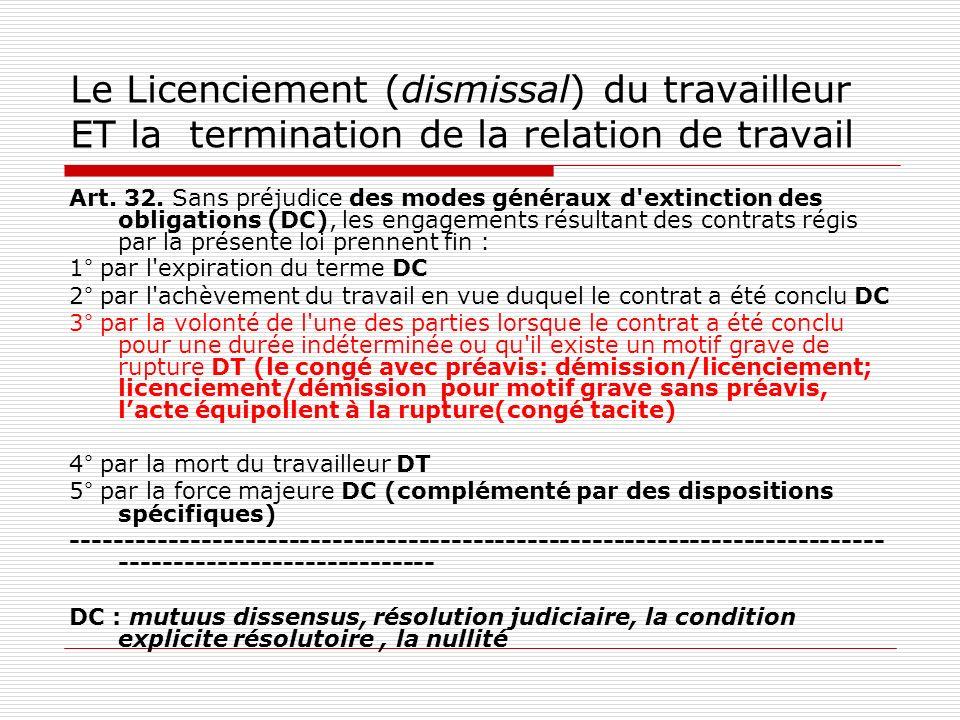 Le Licenciement (dismissal) du travailleur ET la termination de la relation de travail Art. 32. Sans préjudice des modes généraux d'extinction des obl