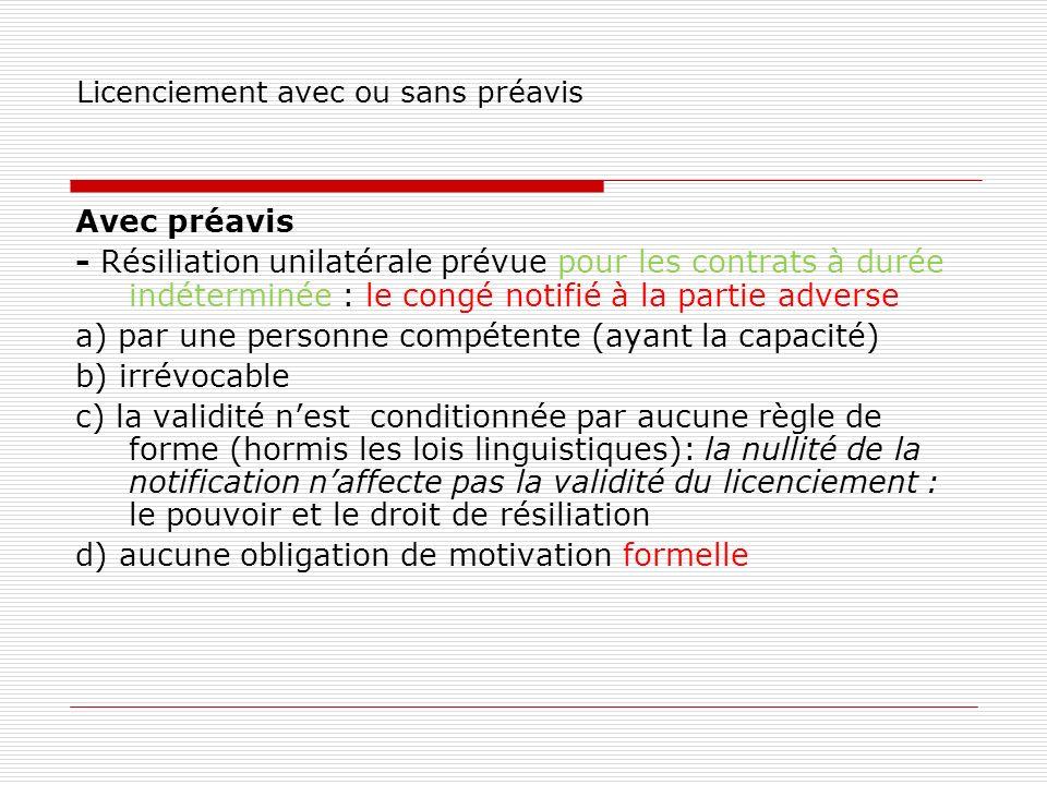 Licenciement avec ou sans préavis Avec préavis - Résiliation unilatérale prévue pour les contrats à durée indéterminée : le congé notifié à la partie