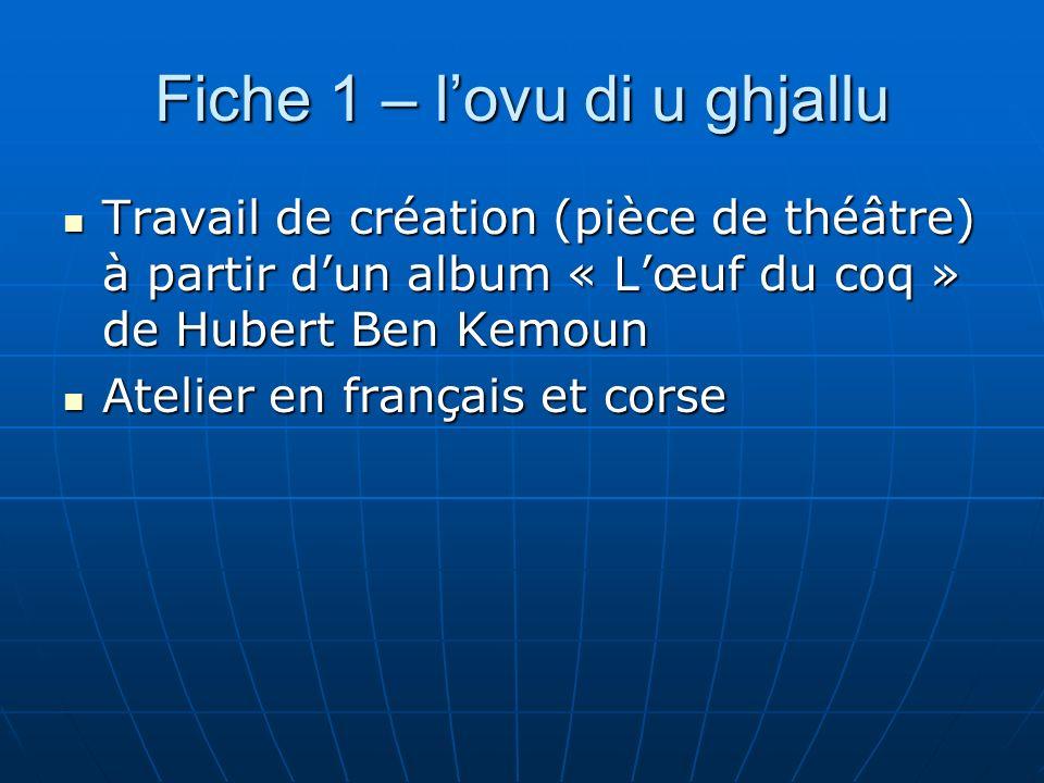 Fiche 1 – lovu di u ghjallu Travail de création (pièce de théâtre) à partir dun album « Lœuf du coq » de Hubert Ben Kemoun Travail de création (pièce