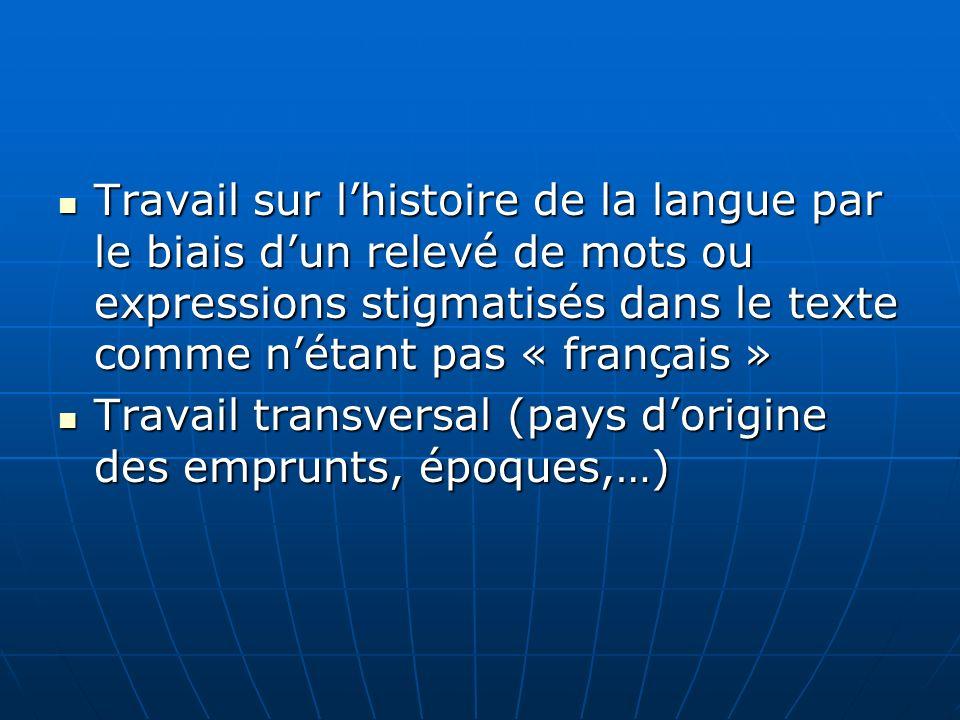 Travail sur lhistoire de la langue par le biais dun relevé de mots ou expressions stigmatisés dans le texte comme nétant pas « français » Travail sur
