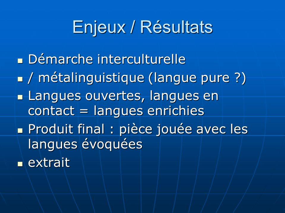 Enjeux / Résultats Démarche interculturelle Démarche interculturelle / métalinguistique (langue pure ?) / métalinguistique (langue pure ?) Langues ouv