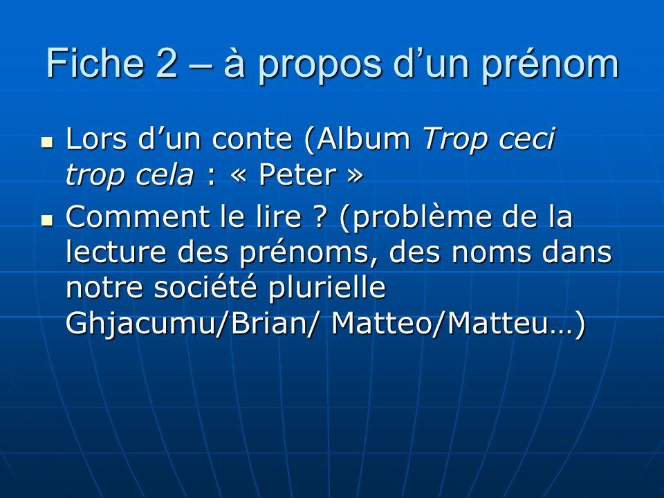 Fiche 2 – à propos dun prénom Lors dun conte (Album Trop ceci trop cela : « Peter » Lors dun conte (Album Trop ceci trop cela : « Peter » Comment le l