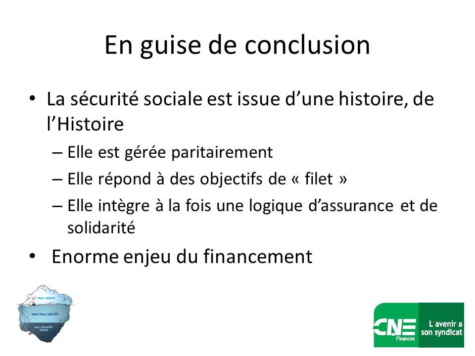 En guise de conclusion La sécurité sociale est issue dune histoire, de lHistoire – Elle est gérée paritairement – Elle répond à des objectifs de « fil