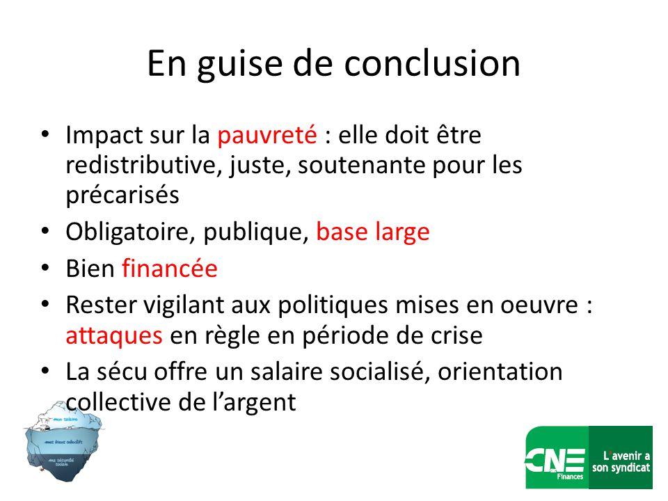 En guise de conclusion Impact sur la pauvreté : elle doit être redistributive, juste, soutenante pour les précarisés Obligatoire, publique, base large