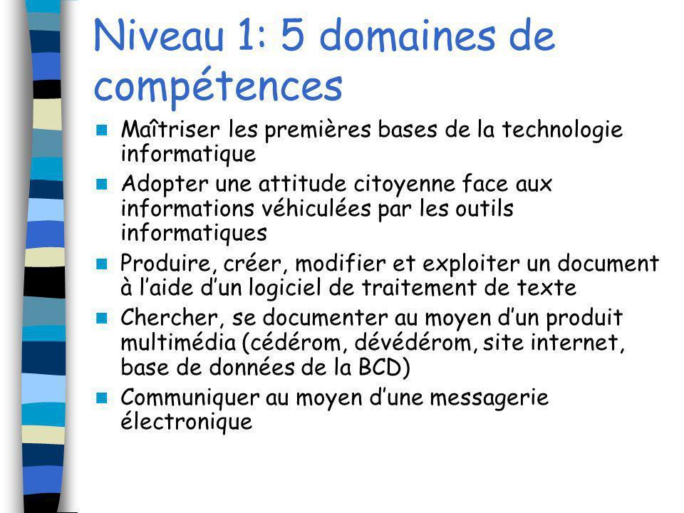 Deux niveaux de compétences Le niveau 1 : il vérifie lacquisition des compétences à lissue de lécole primaire.
