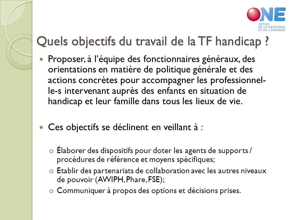 Quels objectifs du travail de la TF handicap .