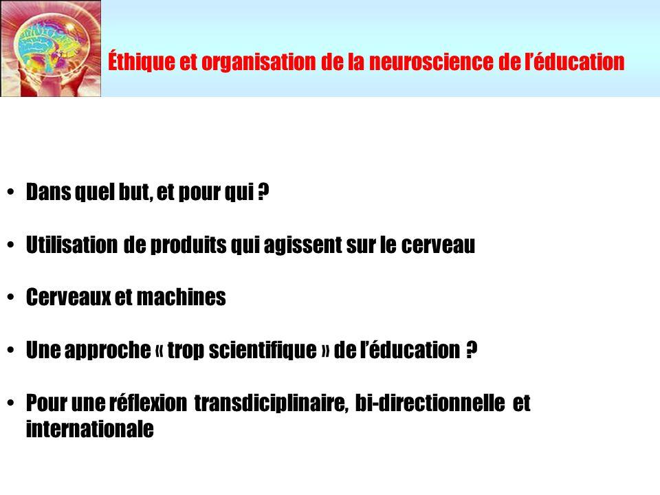 Éthique et organisation de la neuroscience de léducation Dans quel but, et pour qui ? Utilisation de produits qui agissent sur le cerveau Cerveaux et