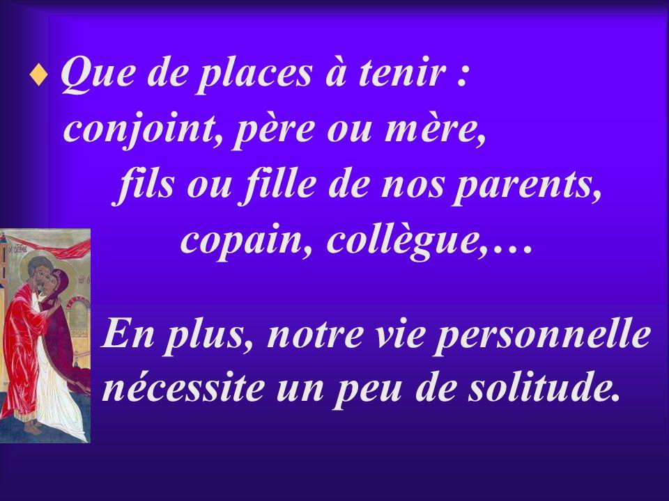 Que de places à tenir : conjoint, père ou mère, fils ou fille de nos parents, copain, collègue,… En plus, notre vie personnelle nécessite un peu de so