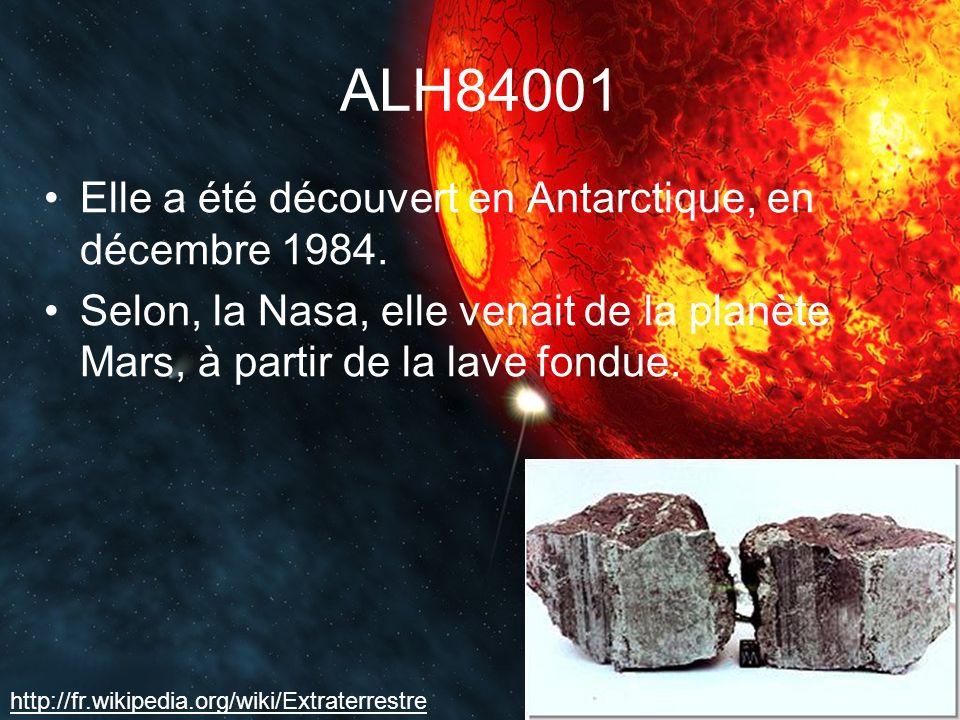 ALH84001 Elle a été découvert en Antarctique, en décembre 1984.