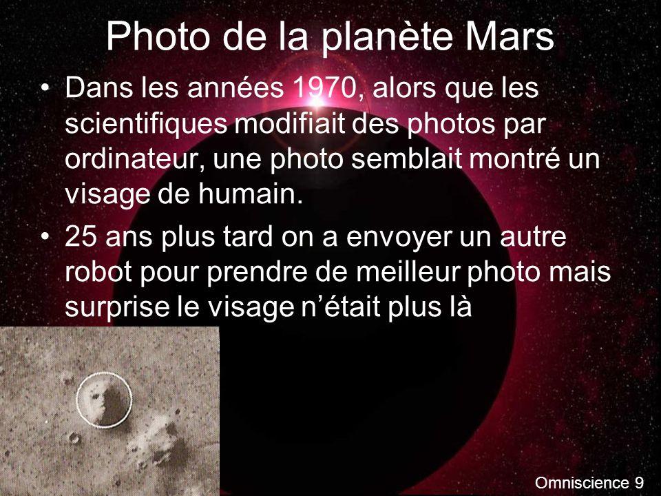 Photo de la planète Mars Dans les années 1970, alors que les scientifiques modifiait des photos par ordinateur, une photo semblait montré un visage de humain.